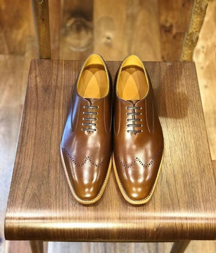 leather404 Clothing, Shoes & Accessories:Men's Shoes:Dress Shoes usa-7 Men's Leather Stylish Wing Tip , Brown Lace Up Whole Cut Casual Shoes