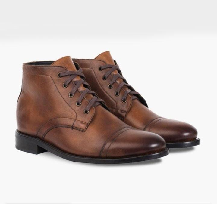 leather404 Clothing, Shoes & Accessories:Men's Shoes:Boots Men's Brown Cap Toe Half Ankle Lace Up Leather Boot
