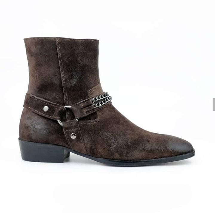 leather404 Clothing, Shoes & Accessories:Men's Shoes:Boots Men's Chocolate Brown Madrid Straps & Chain Style Suede Boot