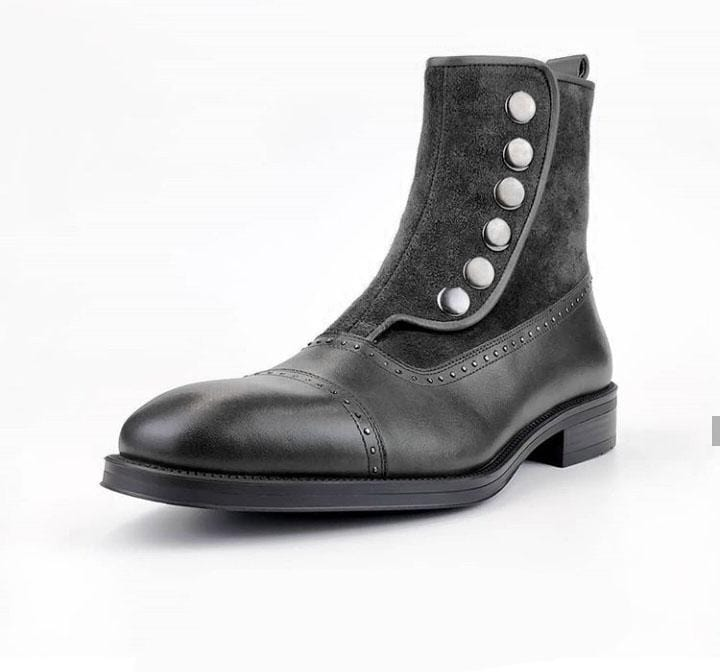 leather404 Clothing, Shoes & Accessories:Men's Shoes:Boots Men's Ankle boots Black Button Top & Side Zipper Leather Suede Boot
