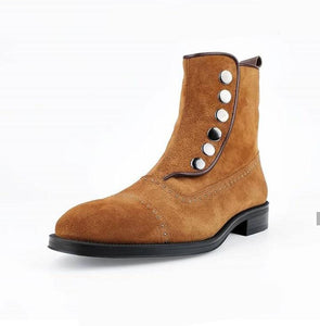 leather404 Clothing, Shoes & Accessories:Men's Shoes:Boots Men's Ankle boots Tan Button Top & Side Zipper Leather Suede Boot