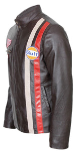 leather404 Clothing, Shoes & Accessories:Men's Clothing:Coats & Jackets Steve McQueen White Red Stripped Grand Prix Gulf Dark Brown Leather Jacket