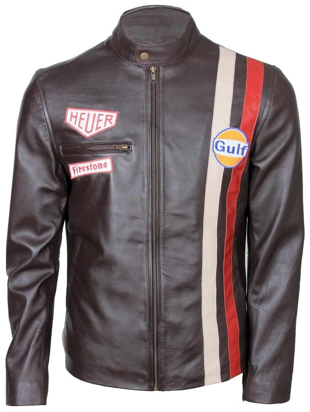 leather404 Clothing, Shoes & Accessories:Men's Clothing:Coats & Jackets s Steve McQueen White Red Stripped Grand Prix Gulf Dark Brown Leather Jacket