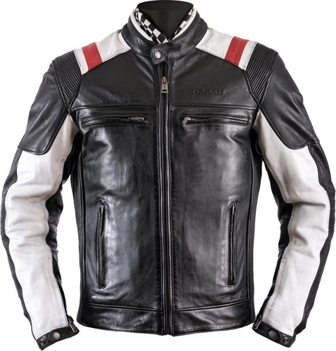 leather404 Clothing, Shoes & Accessories:Men's Clothing:Coats & Jackets s Handmade Stylish Black White Red Strip Real Leather Pocket Men's Jacket