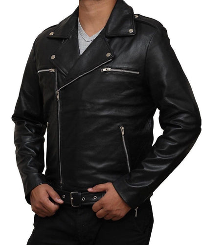 leather404 Clothing, Shoes & Accessories:Men's Clothing:Coats & Jackets The Walking Dead Negan Jeffrey Dean Morgan Black Real Leather Jackets