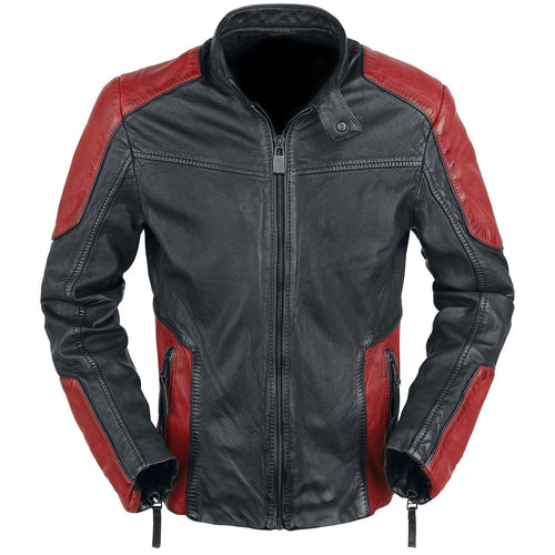 leather404 Clothing, Shoes & Accessories:Men's Clothing:Coats & Jackets s Will Smith Deadshot Suicide Squad Red Black Biker Motorcycle Leather Jacket