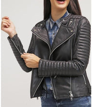 leather404 Clothing, Shoes & Accessories:women's Clothing:Coats & Jackets s Women Fashion Black Leather Jacket , Lambskin biker style Jacket Women's