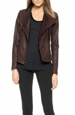 leather404 Clothing, Shoes & Accessories:women's Clothing:Coats & Jackets s Women Leather Chocolate Brown Biker Motorcycle Lambskin Jacket
