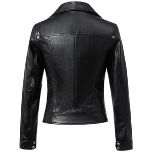leather404 Clothing, Shoes & Accessories:women's Clothing:Coats & Jackets Women's Black Leather Jacket Slim Fit Biker Motorcycle Zip Women Coat