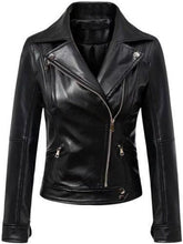 leather404 Clothing, Shoes & Accessories:women's Clothing:Coats & Jackets s Women's Black Leather Jacket Slim Fit Biker Motorcycle Zip Women Coat