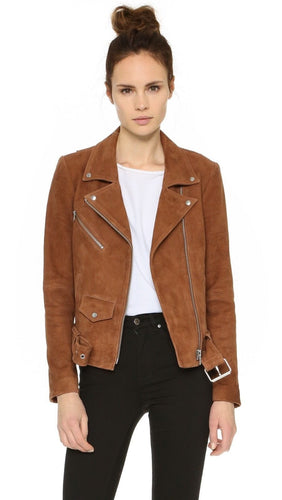 leather404 Clothing, Shoes & Accessories:women's Clothing:Coats & Jackets Women's Brown Suede Leather Jacket Slim Fit Biker Motorcycle Jackets
