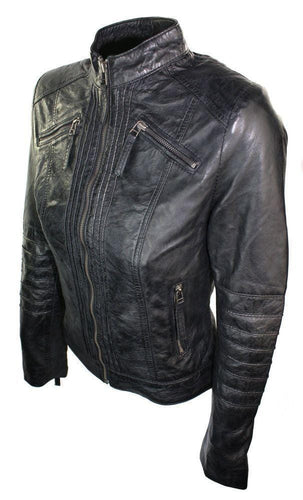leather404 Clothing, Shoes & Accessories:women's Clothing:Coats & Jackets Womens Vintage Style Sheep Leather Slim Fit Biker Retro Black Jacket