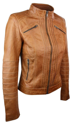 leather404 Clothing, Shoes & Accessories:women's Clothing:Coats & Jackets Womens Vintage Style Sheep Leather Slim Fit Biker Retro Tan Jacket