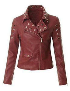 leather404 Clothing, Shoes & Accessories:women's Clothing:Coats & Jackets Women's Leather Maroon Zip Up Moto Biker Jacket Pocket Biker Jackets