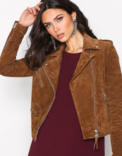 leather404 Clothing, Shoes & Accessories:women's Clothing:Coats & Jackets Women's Jacket Brown Biker Motorcycle Pure Suede Jackets