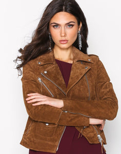 leather404 Clothing, Shoes & Accessories:women's Clothing:Coats & Jackets s Women's Jacket Brown Biker Motorcycle Pure Suede Jackets