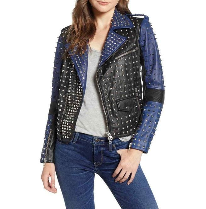 leather404 Clothing, Shoes & Accessories:women's Clothing:Coats & Jackets Woman's Full Silver Studded Rock Punk Leather Jackets