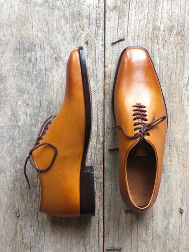 leather404 Clothing, Shoes & Accessories:Men's Shoes:Dress Shoes usa-7 Men's Tan Color Derby Stylish Leather Shoes