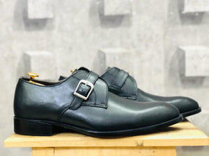 leather404 Clothing, Shoes & Accessories:Men's Shoes:Dress Shoes Handmade Black Monk Buckle Leather Shoes For Men's