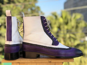 ankle high Boots Purple & White boot dress boot boot dress Lace up Boots Men boots white Purple Ankle boots men's boot white Purple leather boots leather boot Slippers boots shoes ankle high oxfords Slip on white Purple Boots fashion boot Men fashions Designer Boots Men's Dress boot Lace Up leather boots