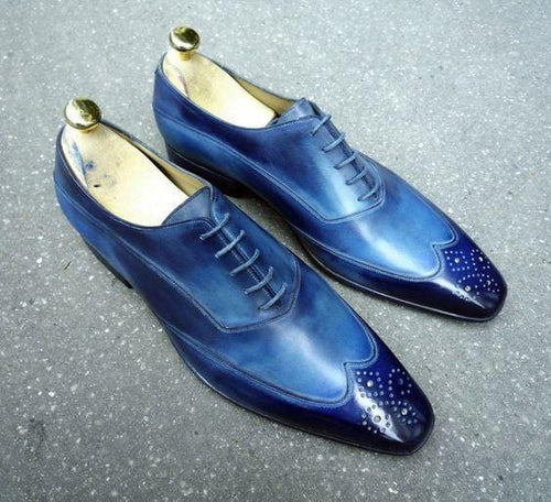 leather404 Clothing, Shoes & Accessories:Men's Shoes:Dress Shoes usa-7 Men's Blue Color Wing Tip Brogue Stylish Shoes