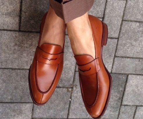 leather404 Clothing, Shoes & Accessories:Men's Shoes:Dress Shoes usa-7 Men's Leather Stylish Penny Loafers Brown Slip On Split Toe Shoes