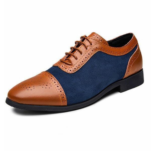 leather404 Clothing, Shoes & Accessories:Men's Shoes:Dress Shoes Men's Leather Suede Lace Up Stylish, Brown Navy Blue Cap Toe Brogue Shoes