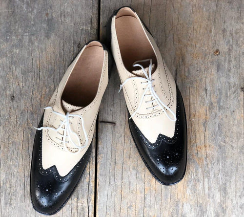leather404 Clothing, Shoes & Accessories:Men's Shoes:Dress Shoes Handmade White & Black Wing Tip Leather Men's Shoes