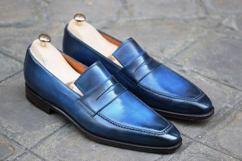 leather404 Clothing, Shoes & Accessories:Men's Shoes:Dress Shoes usa-7 Men's Leather Stylish Two Tone Blue Color Slip On Square Toe Shoes