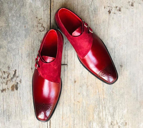 leather404 Clothing, Shoes & Accessories:Men's Shoes:Dress Shoes Double Monk Leather Suede Burgundy Shoes