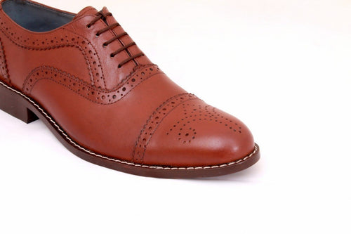 leather404 Clothing, Shoes & Accessories:Men's Shoes:Dress Shoes Men's Light Burgundy Cap Toe Brogue Stylish Shoes