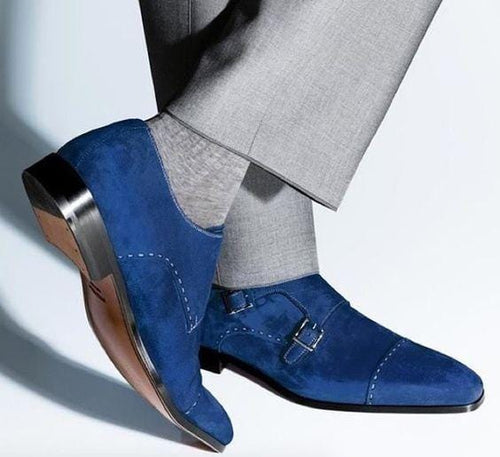 leather404 Clothing, Shoes & Accessories:Men's Shoes:Dress Shoes usa-7 Men's Suede Double Monk Blue Color Strap Cap Toe Shoes