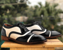 leather404 Clothing, Shoes & Accessories:Men's Shoes:Dress Shoes Handmade Black & White Cap Toe Shoes For Men's