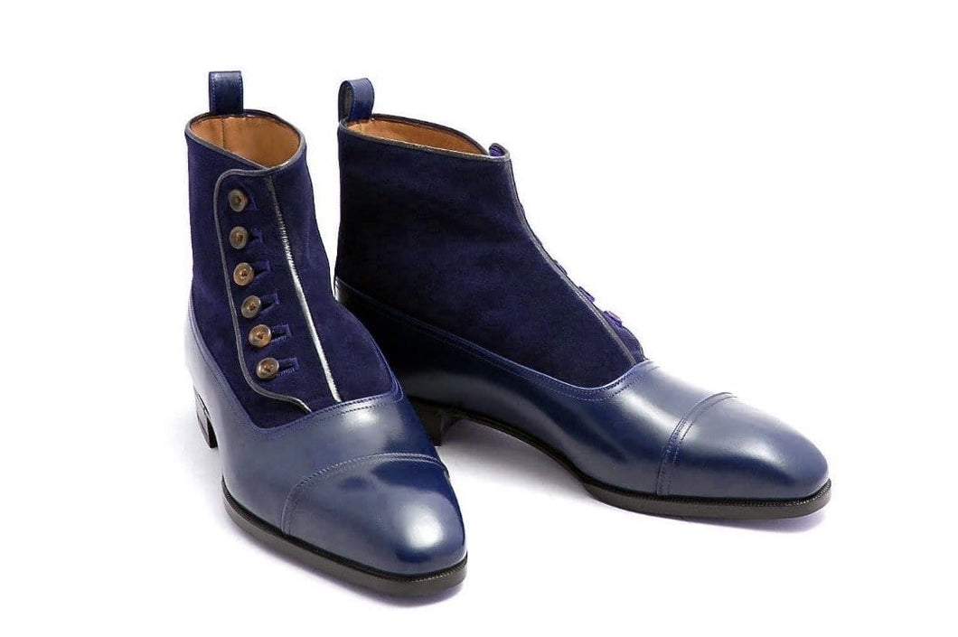 leather404 Clothing, Shoes & Accessories:Men's Shoes:Boots Blue Leather Suede Cap Toe Button Boot