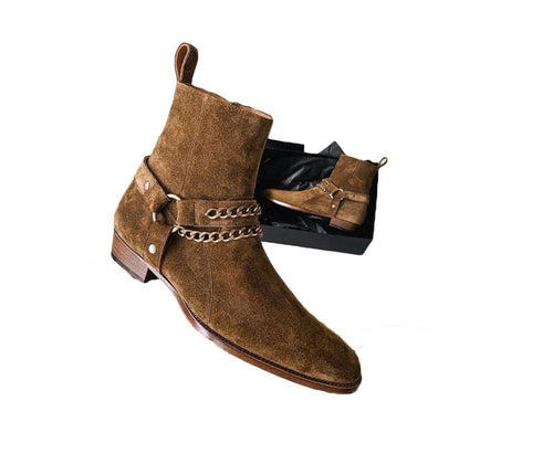 leather404 Clothing, Shoes & Accessories:Men's Shoes:Boots Handmade Men's Dark Brown Madrid Straps & Chain Style Zipper Boot