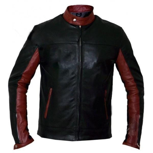 leather404 Clothing, Shoes & Accessories:Men's Clothing:Coats & Jackets s Maroon Black crusader dark knight batman leather jacket