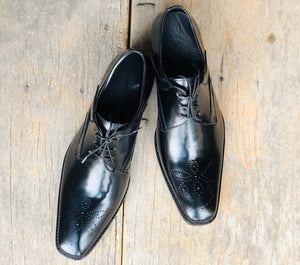 leather404 Clothing, Shoes & Accessories:Men's Shoes:Dress Shoes Handmade Black Brogue Lace Up Shoes For Men's