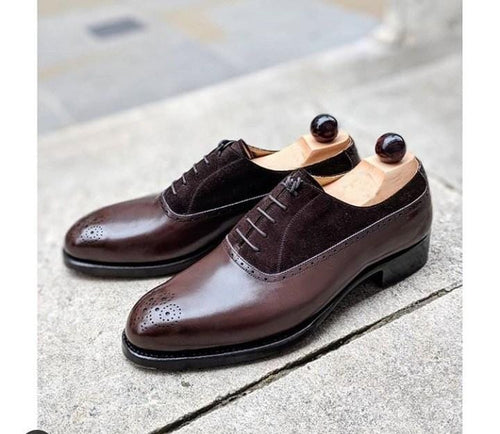 leather404 Clothing, Shoes & Accessories:Men's Shoes:Dress Shoes usa-7 Men's Leather Suede Men's Dark Brown Brogue Stylish Shoes