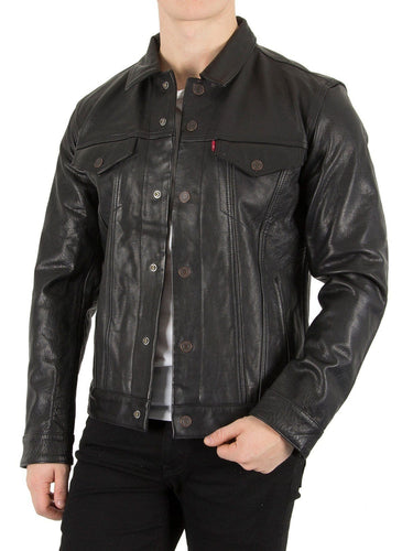 leather404 Clothing, Shoes & Accessories:Men's Clothing:Coats & Jackets s Handmade Black Color Stylish Leather Casual Button Jackets