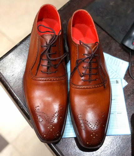 leather404 Clothing, Shoes & Accessories:Men's Shoes:Dress Shoes Handmade Tan Brogue Lace Up Shoes For Men's