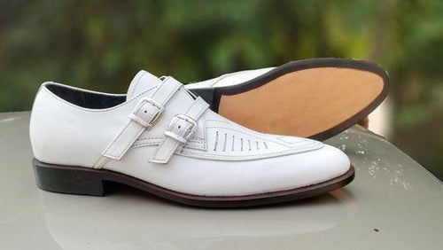 leather404 Clothing, Shoes & Accessories:Men's Shoes:Dress Shoes usa-7 Men's White Color Strap Stylish Leahter Shoes