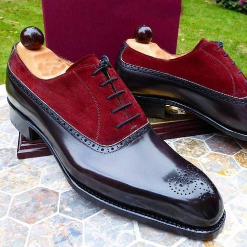 leather404 Clothing, Shoes & Accessories:Men's Shoes:Dress Shoes usa-7 Men's Leather Suede, Black Maroon Derby Brogue Stylish dress Shoes