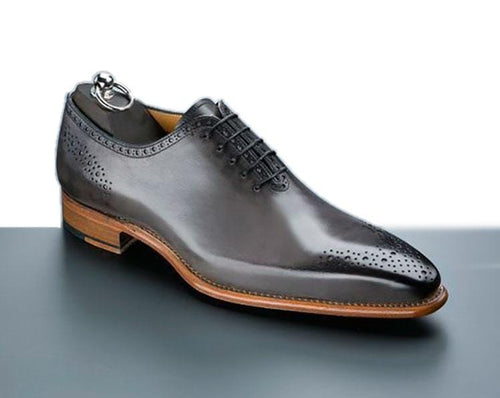 leather404 Clothing, Shoes & Accessories:Men's Shoes:Dress Shoes Gray Oxford Two Tone Whole Cut Shoes