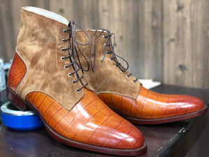 leather404 Clothing, Shoes & Accessories:Men's Shoes:Boots Ankle Tan Brown Crocodile Leather Suede Lace Up Men's Boot