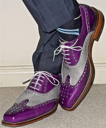 leather404 Clothing, Shoes & Accessories:Men's Shoes:Dress Shoes usa-7 Men's Purple Gray Color Wing Tip Brogue Stylish Shoes
