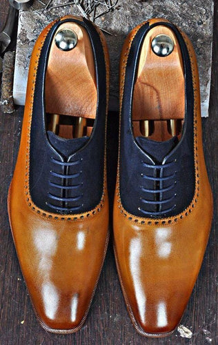leather404 Clothing, Shoes & Accessories:Men's Shoes:Dress Shoes usa-7 Men's Leather SuedeTan Navy Blue Derby Stylish Shoes