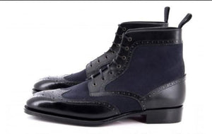 leather404 Clothing, Shoes & Accessories:Men's Shoes:Boots Men's Ankle High Black Blue Wing Tip Leather Suede Lace Up Boots