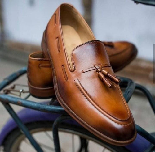 leather404 Clothing, Shoes & Accessories:Men's Shoes:Dress Shoes usa-7 Men's Tan Brown Slip On Moccasin Leather Casual Shoes