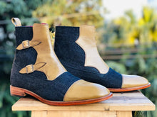 leather404 Clothing, Shoes & Accessories:Men's Shoes:Boots Men's Ankle High Beige Blue Double Monk Denim & Leather boots