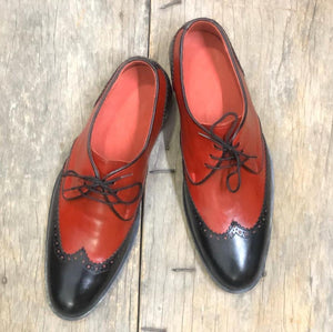 leather404 Clothing, Shoes & Accessories:Men's Shoes:Dress Shoes Red Black Wing tip Shoes For Men's
